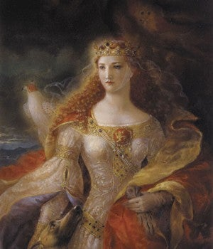 Painting of Eleanor of Aquitaine in a white dress wearing a gold crown, with long glowing red hair