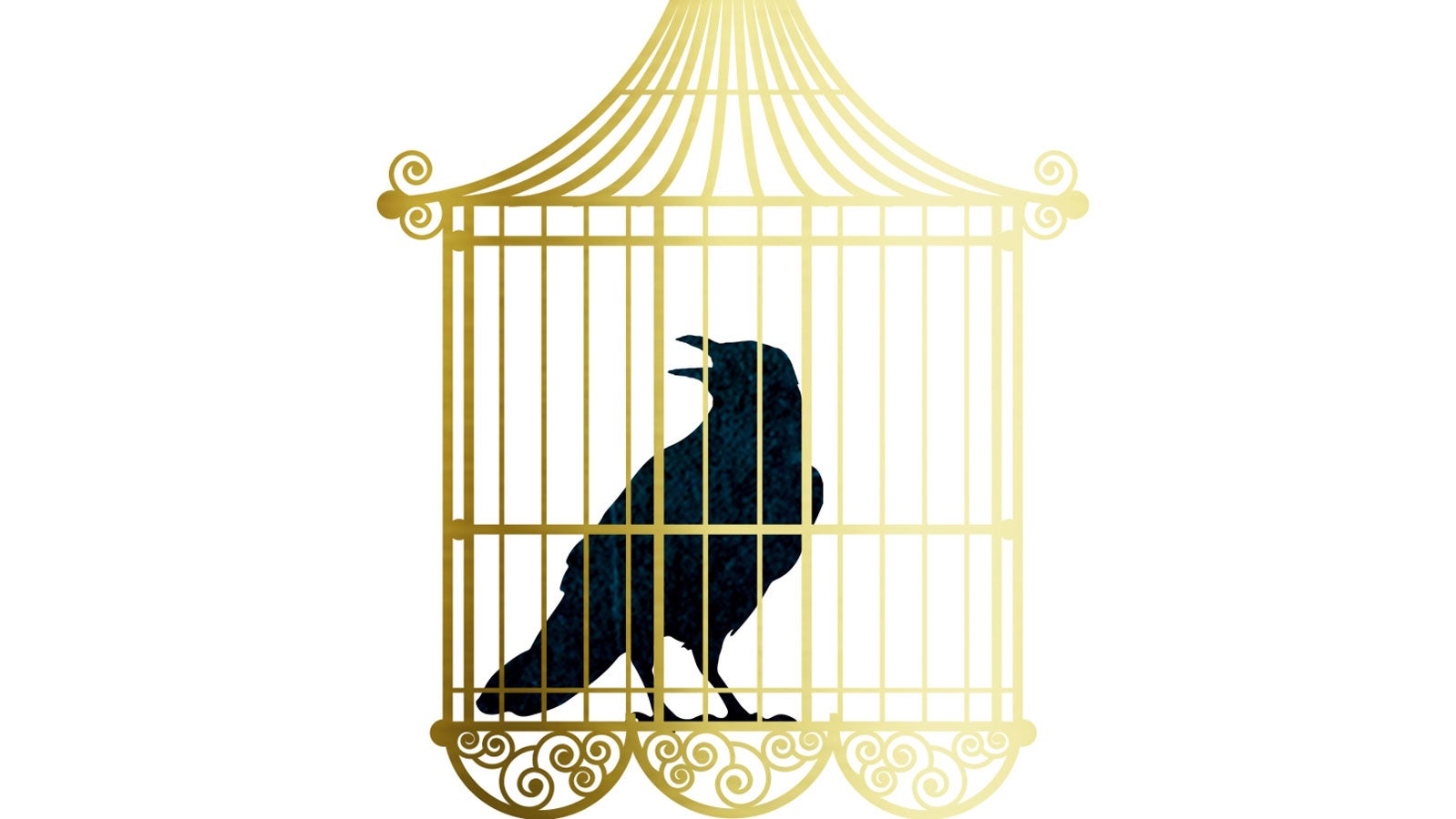 Illustration of a raven in a gold cage