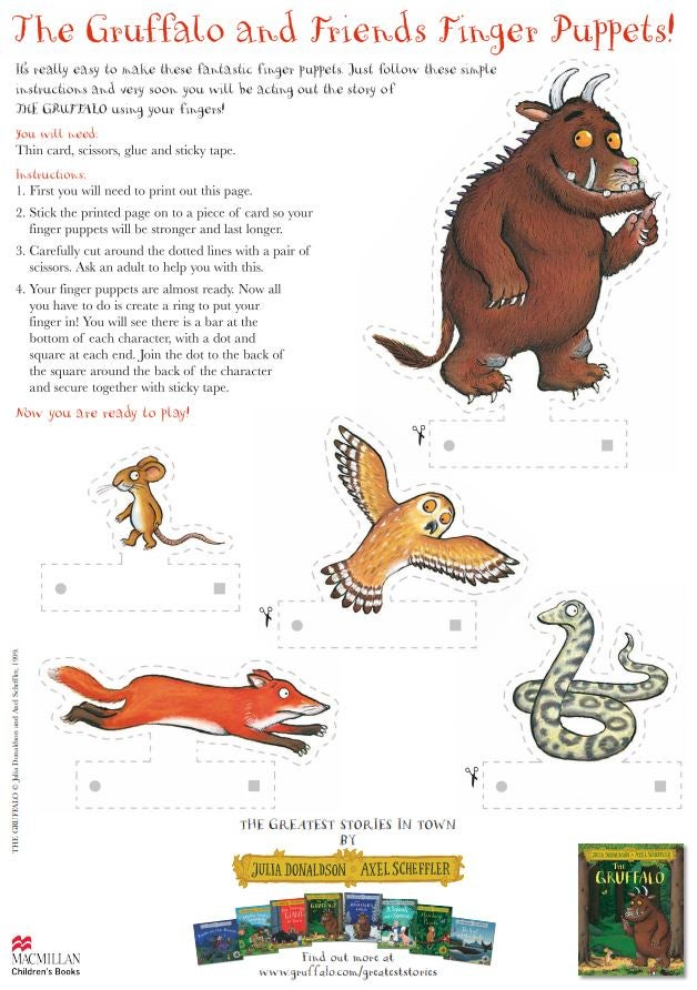 Activity sheet - finger puppets - The Gruffalo - Julia Donaldson - Axel Scheffler
