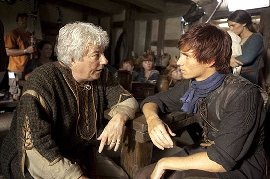 Ken Follett and Eddie Redmayne on set of The Pillars of the Earth