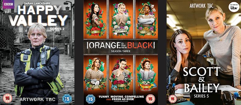 Happy Valley, Orange is the new Black, Scott & Bailey Series 5 DVD covers