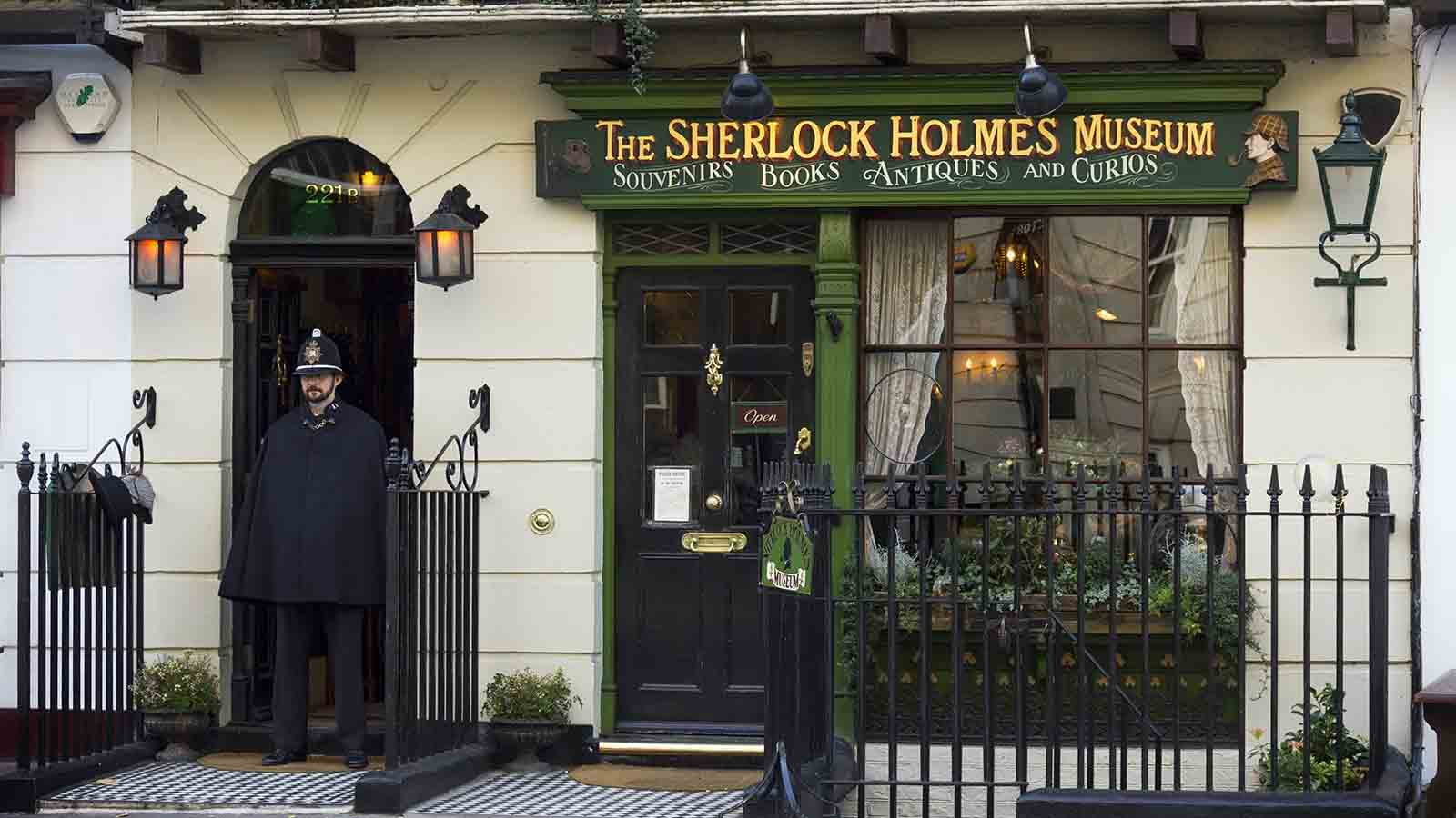 Outside of 221b Baker Street and the Sherlock Holmes Museum