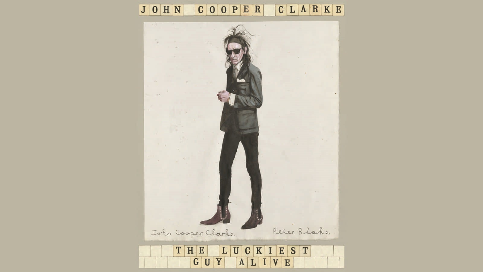 Section of the The Luckiest Guy Alive book cover showing an illustration of John Cooper Clarke