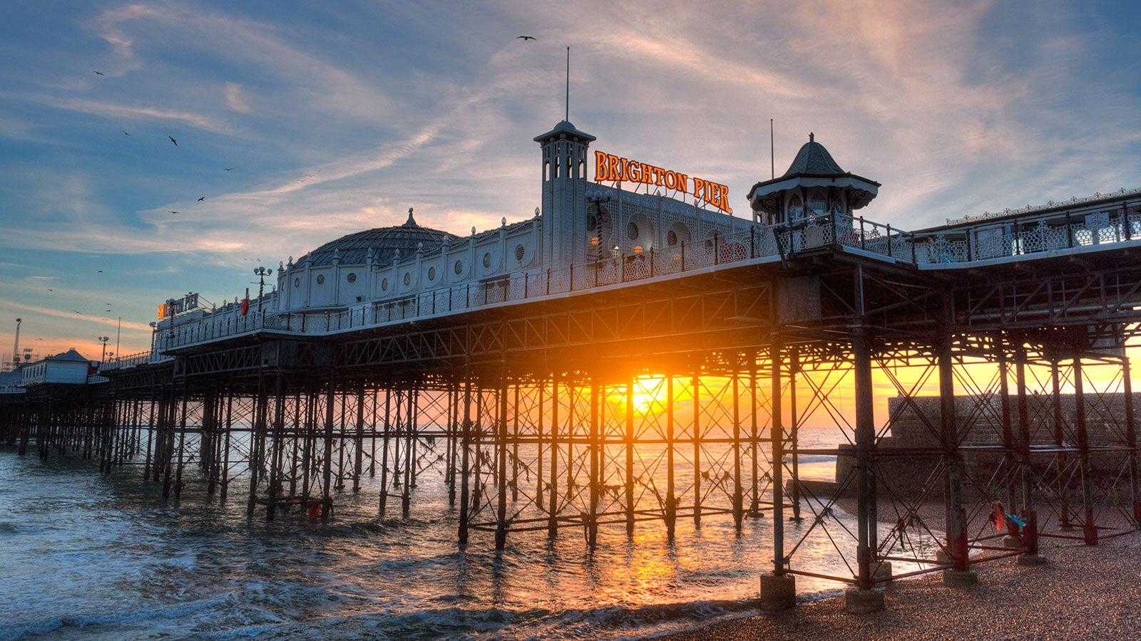 Brighton Pier caught in the sunset.