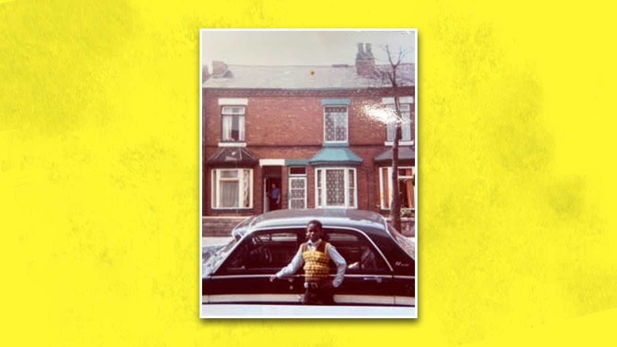 A photo of a young David Harewood standing in front of a car on the streets of Birmingham. The photo is on a yellow background.