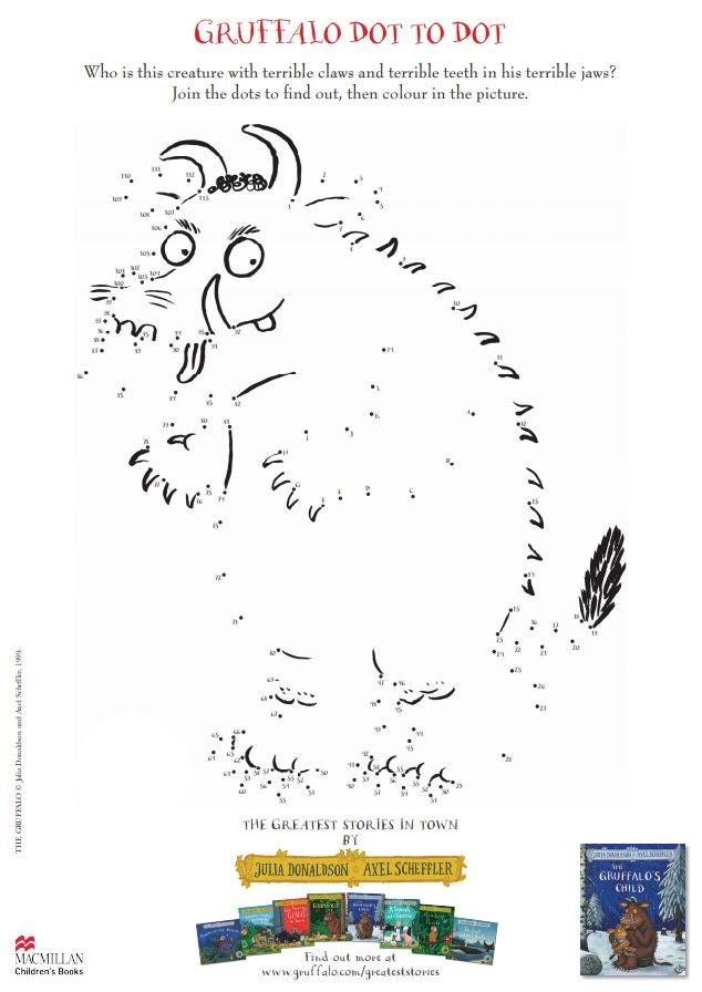Activity sheet - dot-to-dot - The Gruffalo - Julia Donaldson - Axel Scheffler