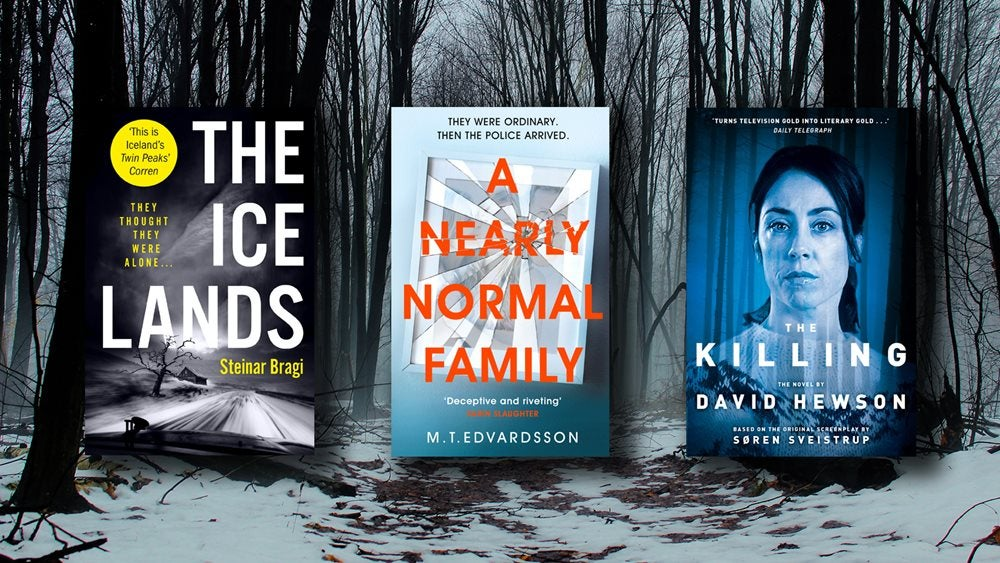 The Ice Lands, A Nearly Normal Family and The Killing book covers against an image of a snowy forest