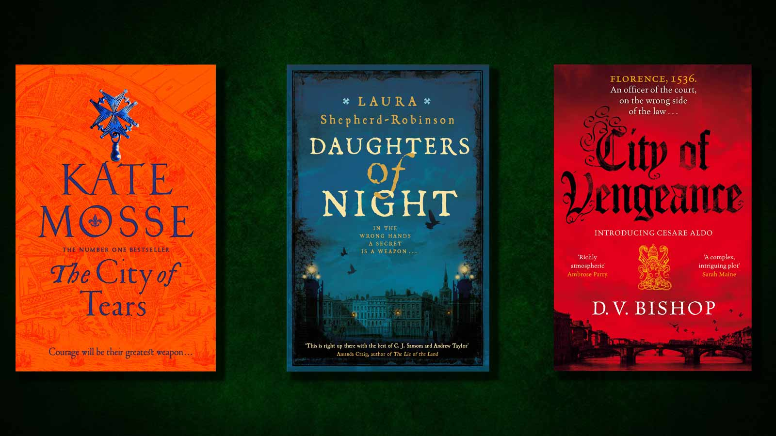 The City of Tear, Daughters of Night and City of Vengeance book covers