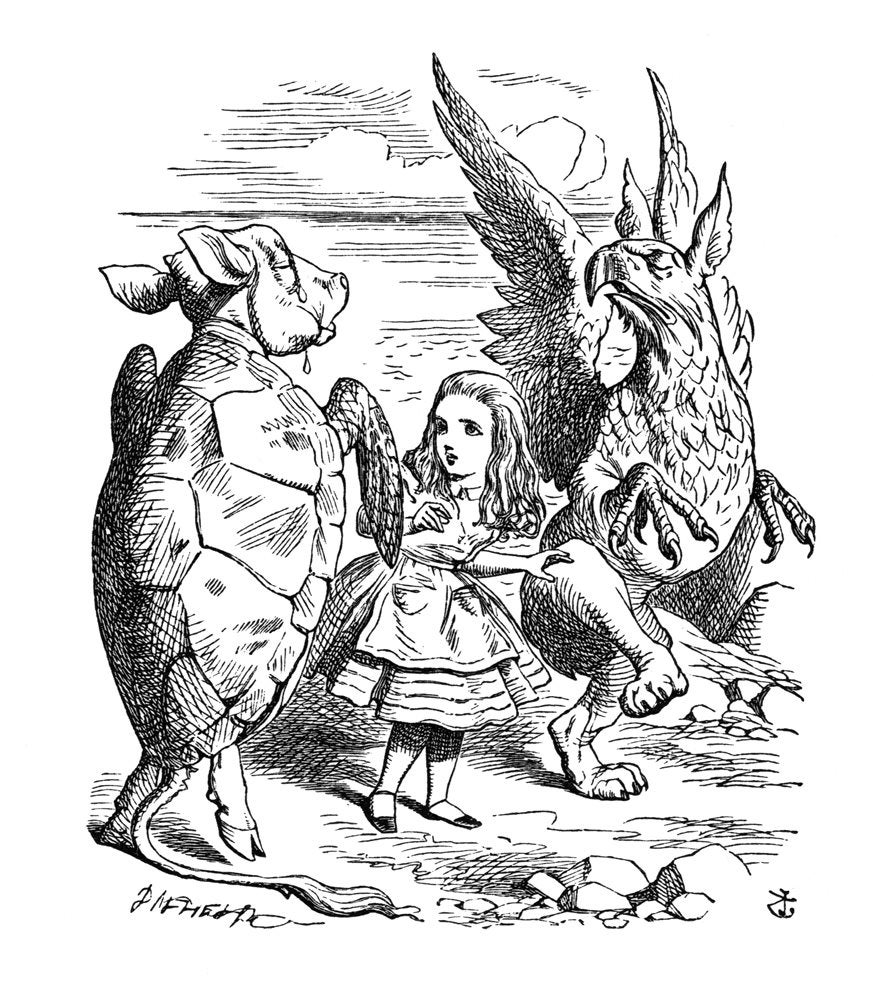 Alice meets the mock turtle and the gryphon