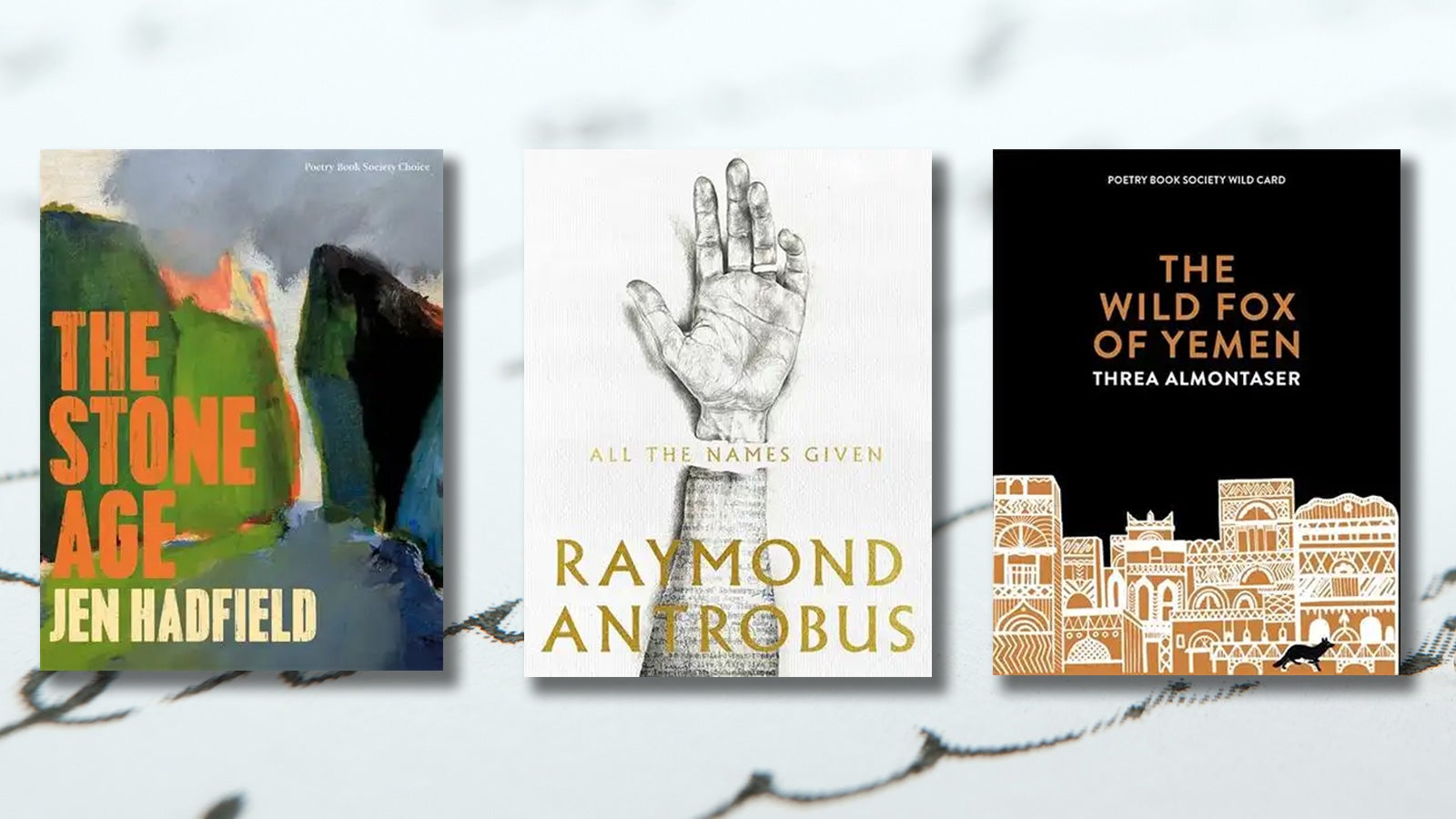 Three poetry books on a background of cursive writing.