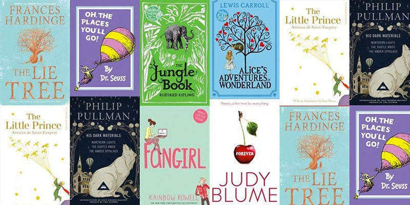 A selection of popular children's books that might be enjoyed by adults including Forever, Fangirl and The Lie Tree.