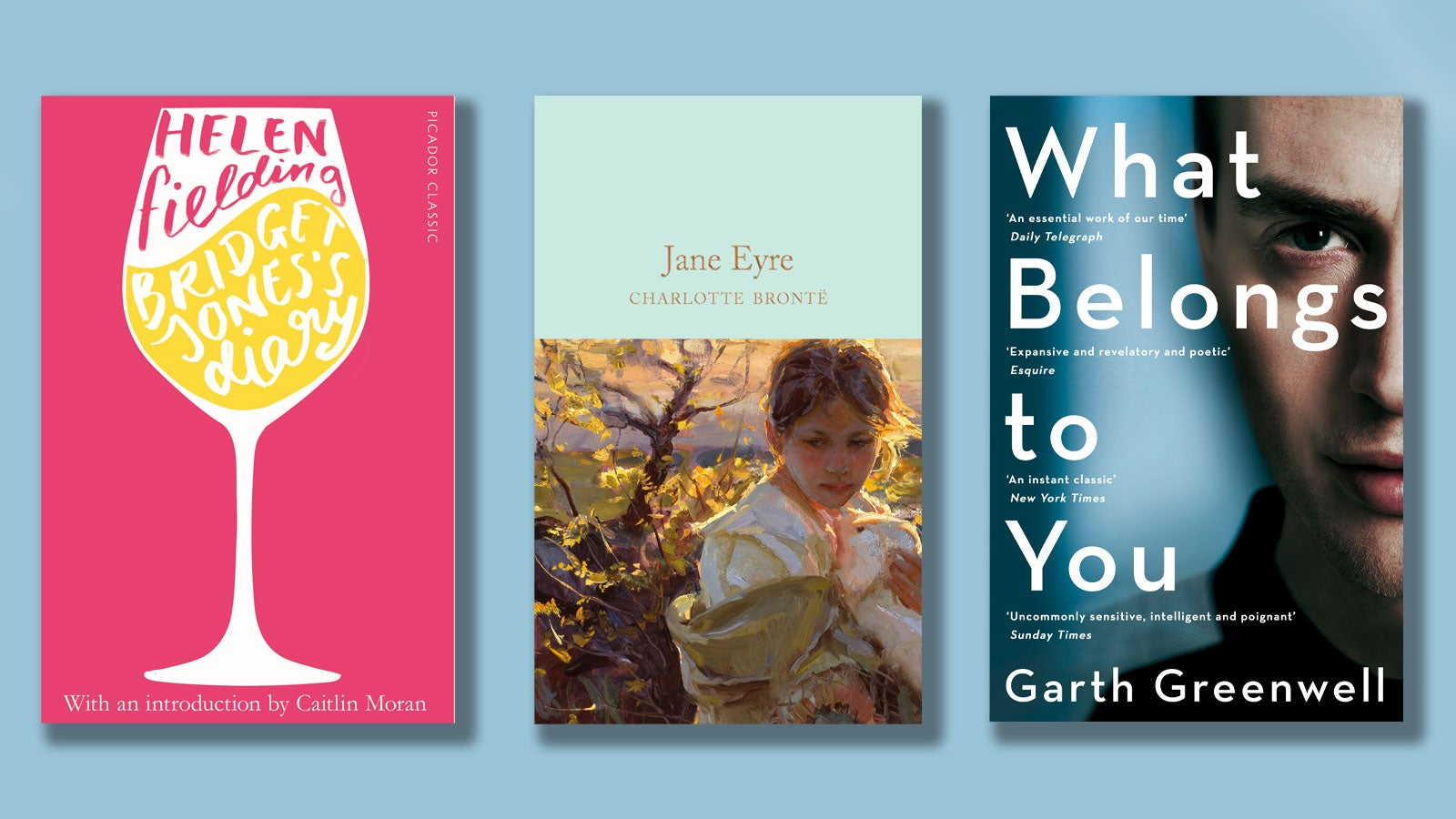 Bridget Jones's Diary, Jane Eyre and What Belongs to You book covers