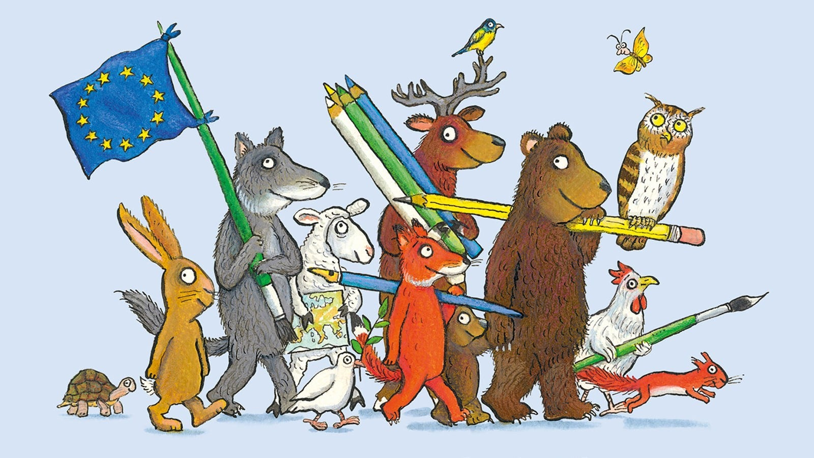 A variety of illustrated animal carrying an EU flag, pencils and paint brushes