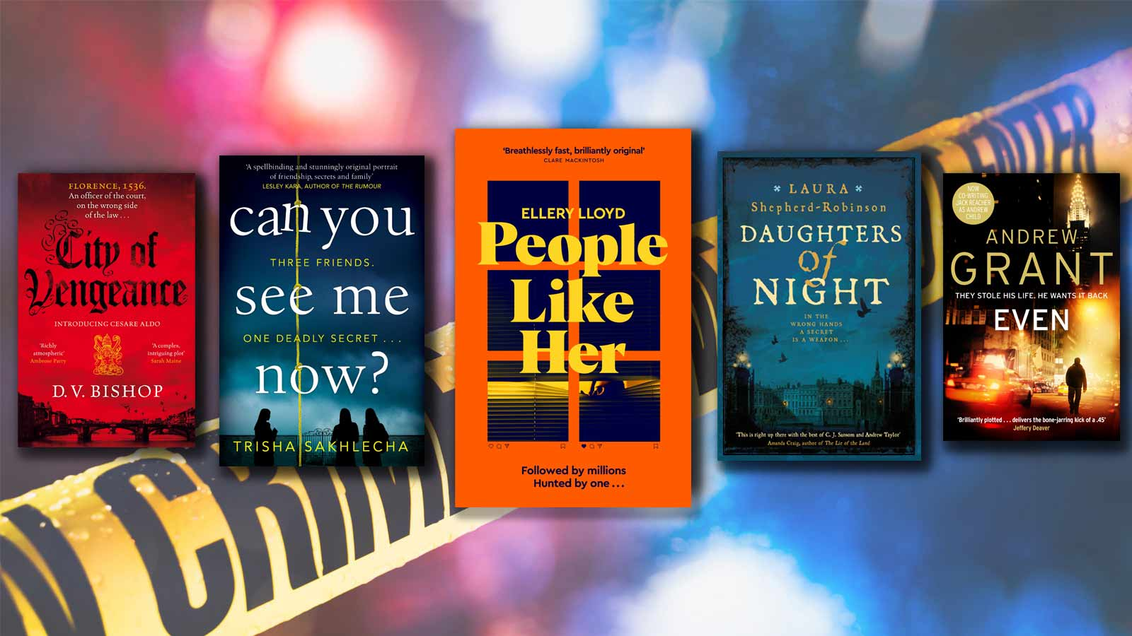 City of Vengeance, Can You See Me Now, People Like Her, Daughters of Night and EVEN book covers