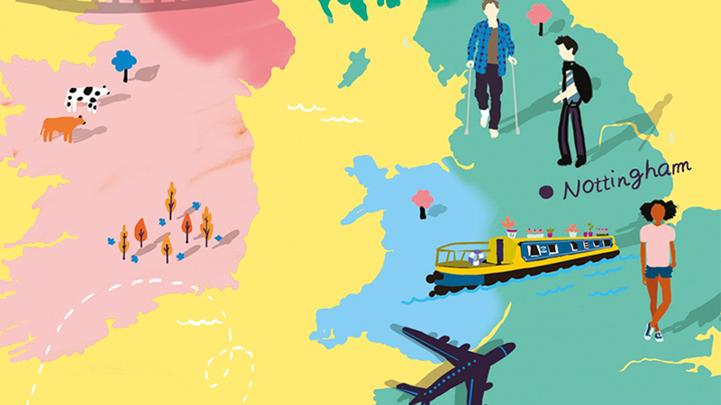 Cropped Illustrated map of the UK - bright colours