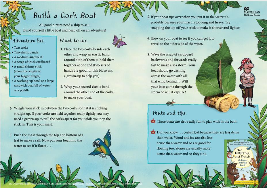 Activity Sheet - Cork Boat - The Gruffalo and Friends Outdoor Activity Book - Julia Donaldson - Axel Scheffler