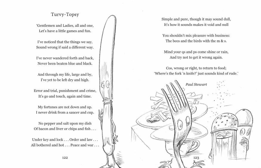 Poem and illustration of Turvy-Topsy from Poems to Save the World With