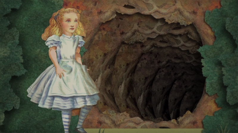 Illustrated picture of Alice looking down a large rabbit hole
