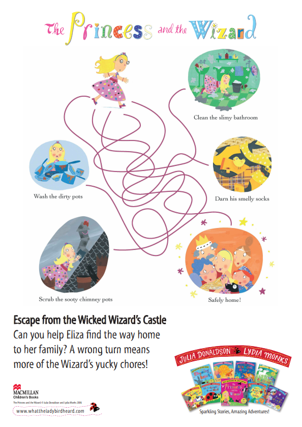 A maze that asks kids to help the Princess navigate to safely home and  escape the wizard