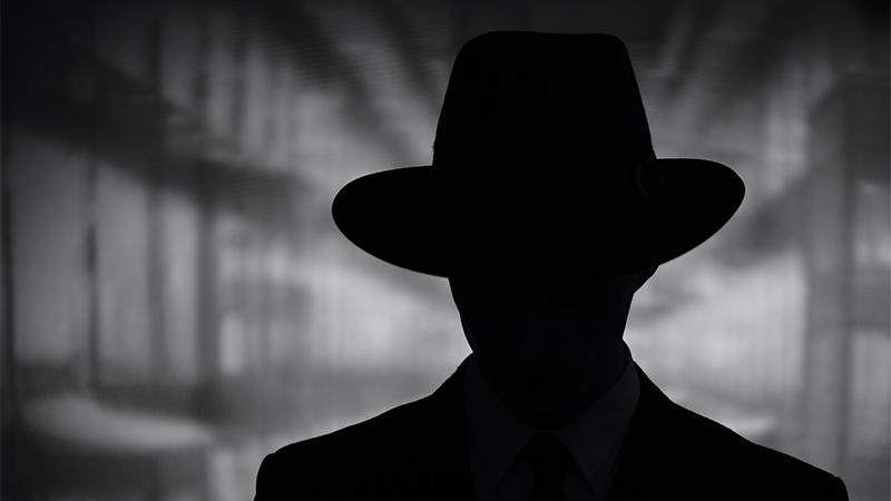 A  silhouette of a detective in a black and white noir setting.