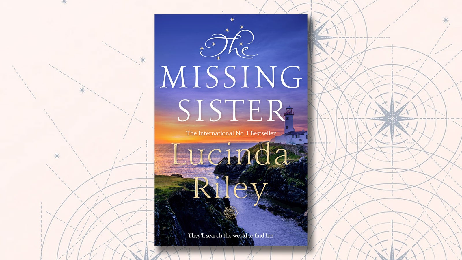 The Missing Sister by Lucinda Riley on a backdrop of a constellations.