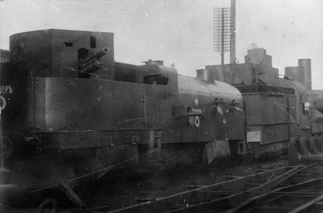 """Armoured train """"Officer"""" of the White Army during the Civil War in Russia."""