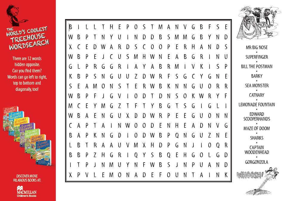 Treehouse wordsearch activity sheet