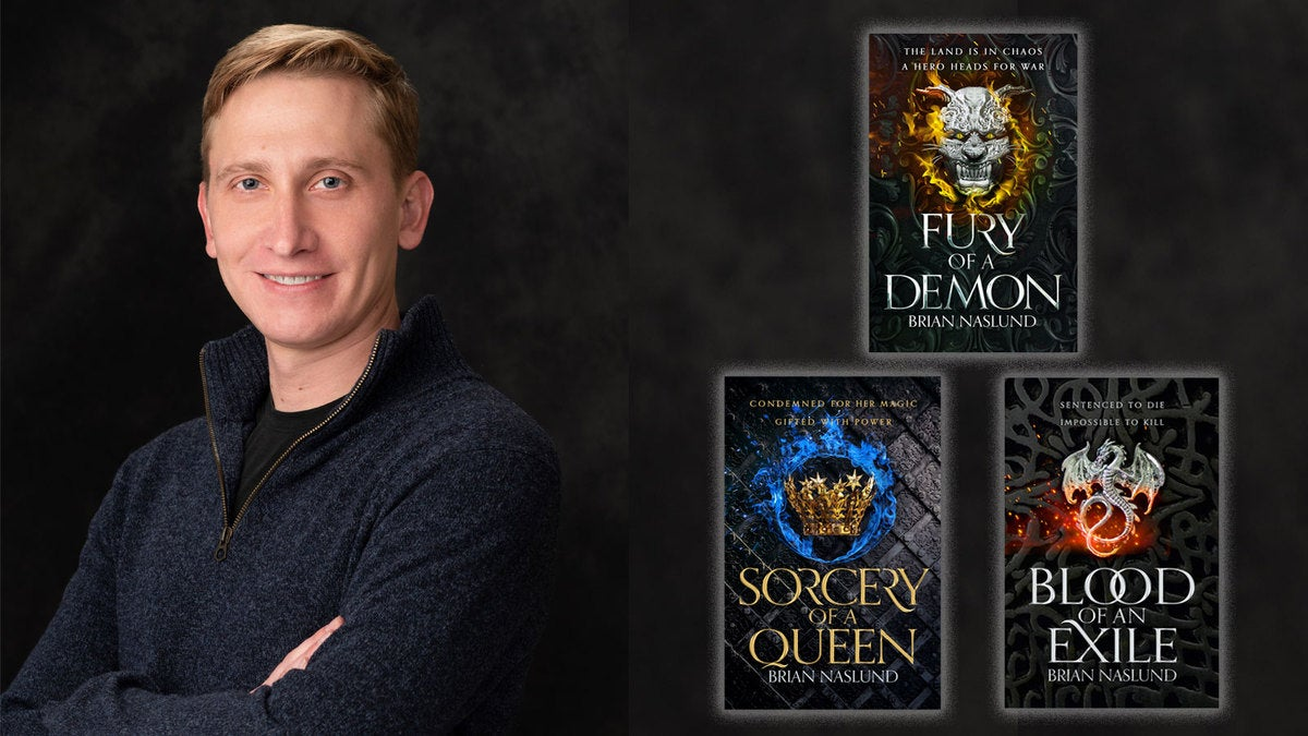 Headshot of Brian Nasuld smiling, and next to him the book covers for his three fantasy novels