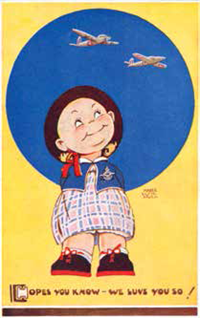 A postcard designed by Mabel Lucie Attwell.