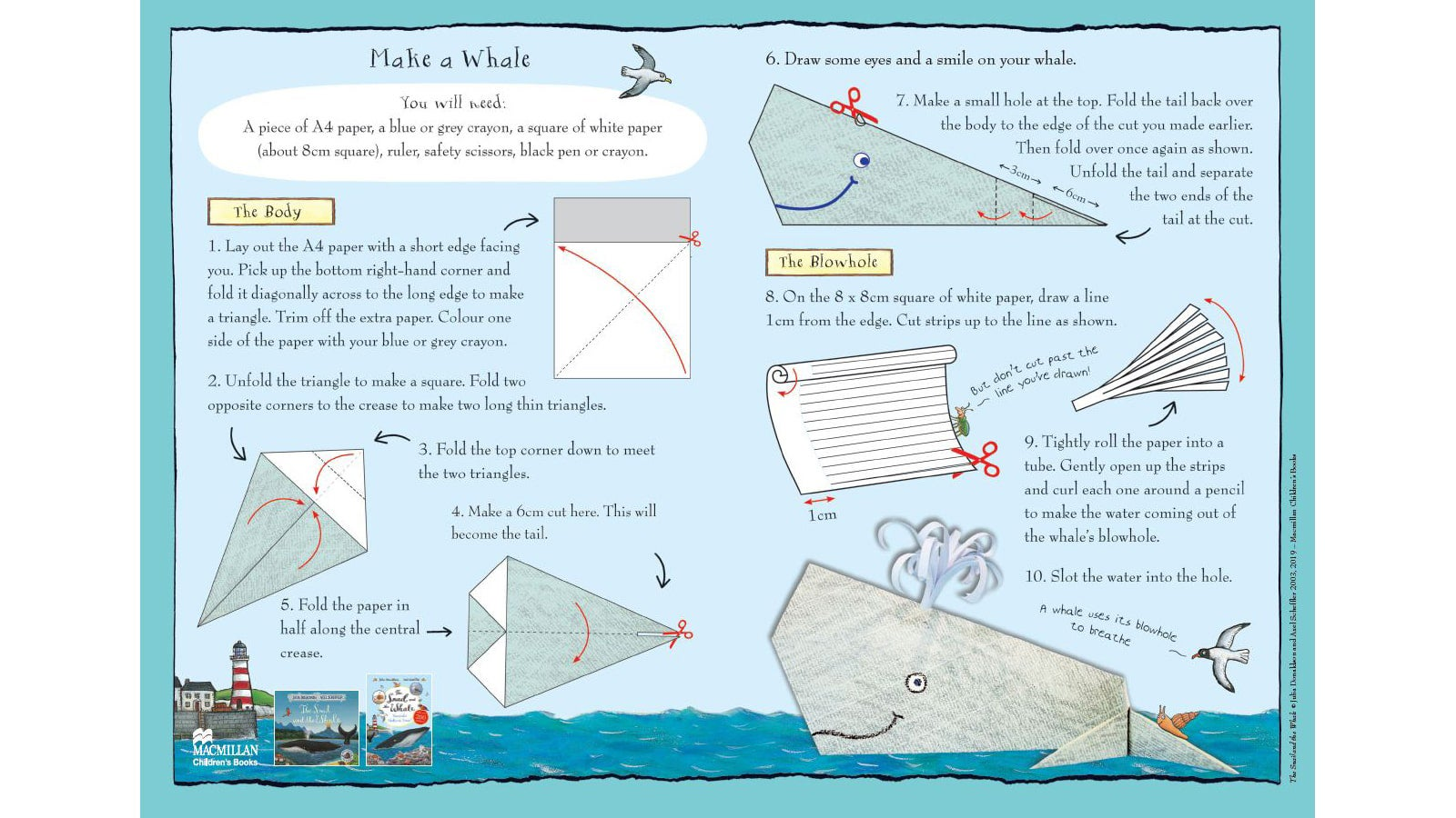 Activity sheet - Make a whale sheet  - The Snail and the Whale - Julia Donaldson - Axel Scheffler