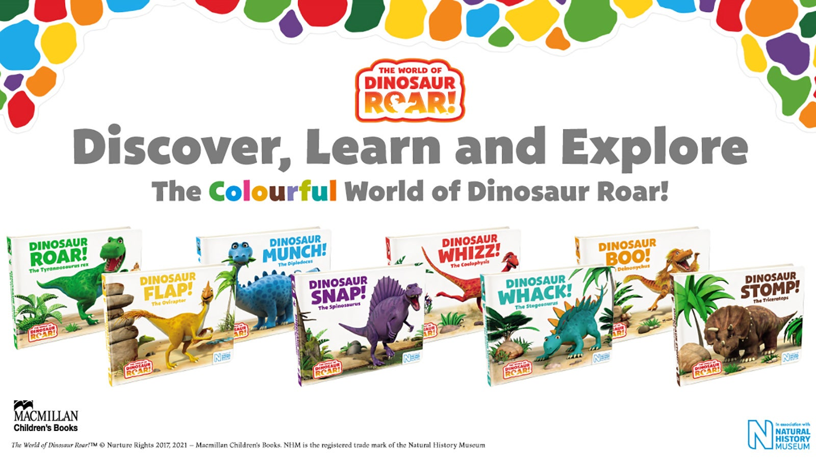 A colourful graphic that shows all of the Dinosaur Roar! series books