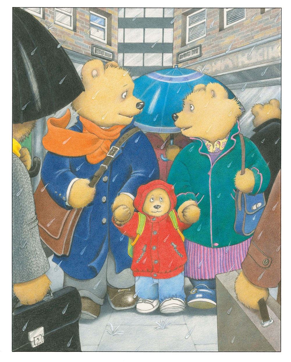 An illustration from Jill Murphy's Just One of Those Days showing a father bear a mother bear and a baby bear standing in the rain