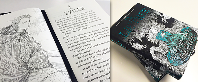 The Lie Tree opened to chapter 1 'Exiles' with a character illustration, next to copies of the paperback.