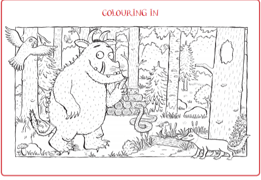 Black and white drawing for colouring in of The Gruffalo, snake, fox, owl and mouse in the deep dark woods