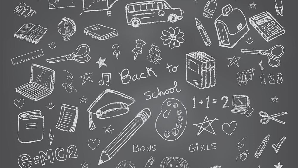 Illustration of a blackboard with white chalk doodles