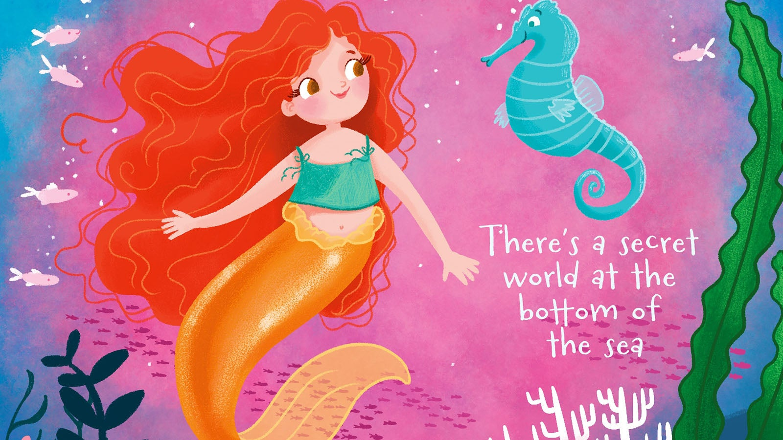 Illustrated red-haired mermaid with a blue seahorse