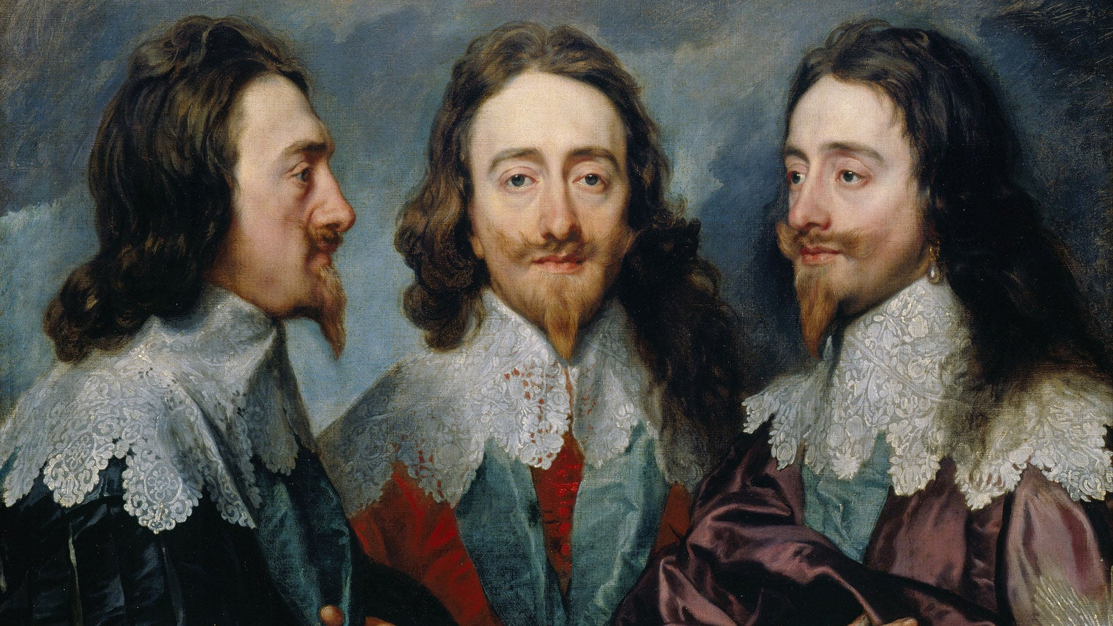 Portrait of King Charles I, painted straight on, partial profile and full profile