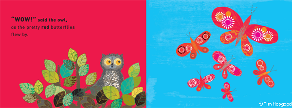 Illustrated spread of Owl and butterflies from WOW Said the Owl