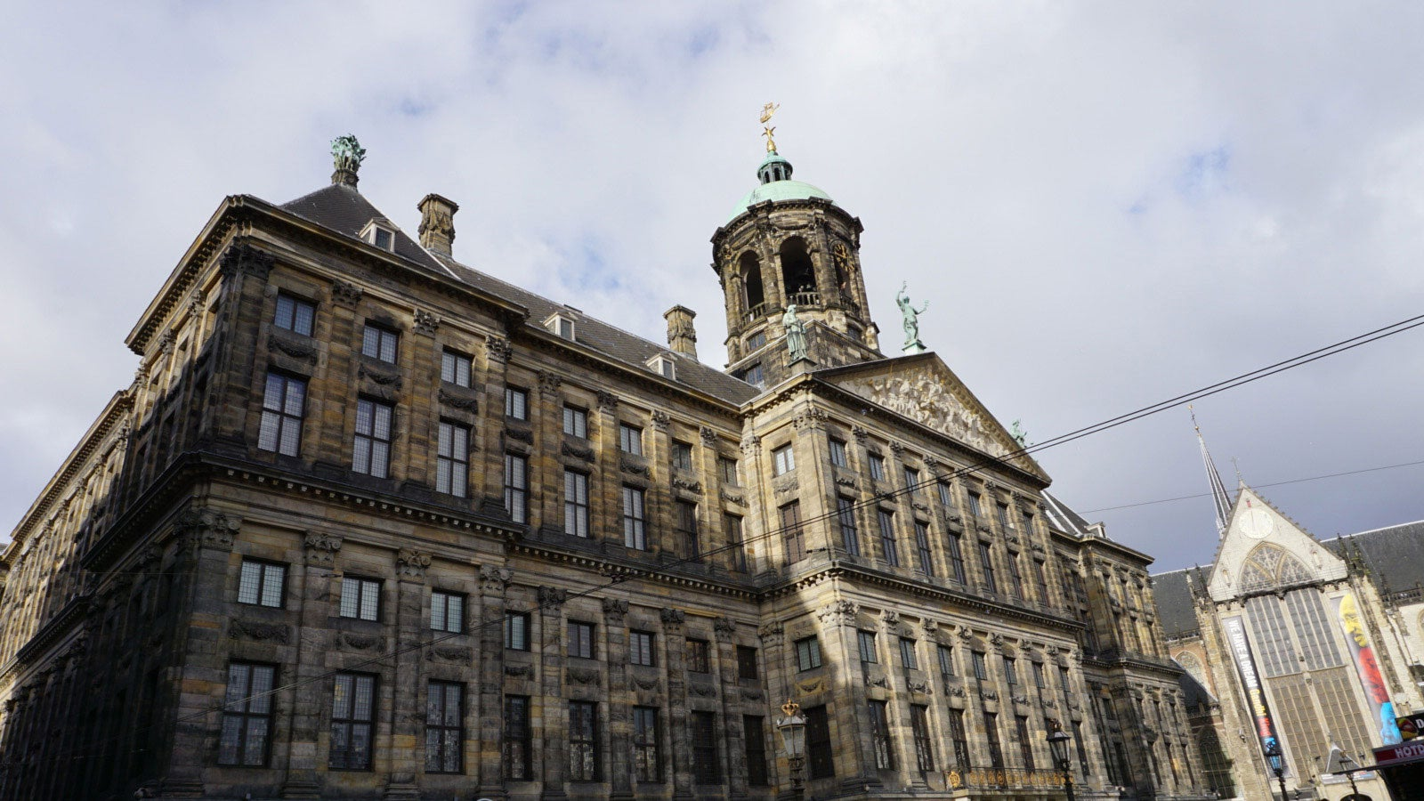 A zoomed out image showing the full exterior of The Stadhuis