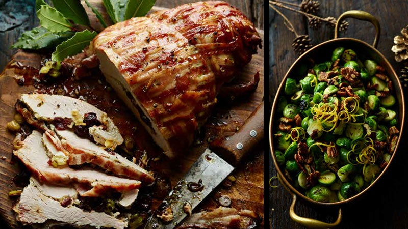 A Christmas Turkey accompanied with Lemony Charred Sprouts from Joe Wicks's Cooking for Family and Friends.