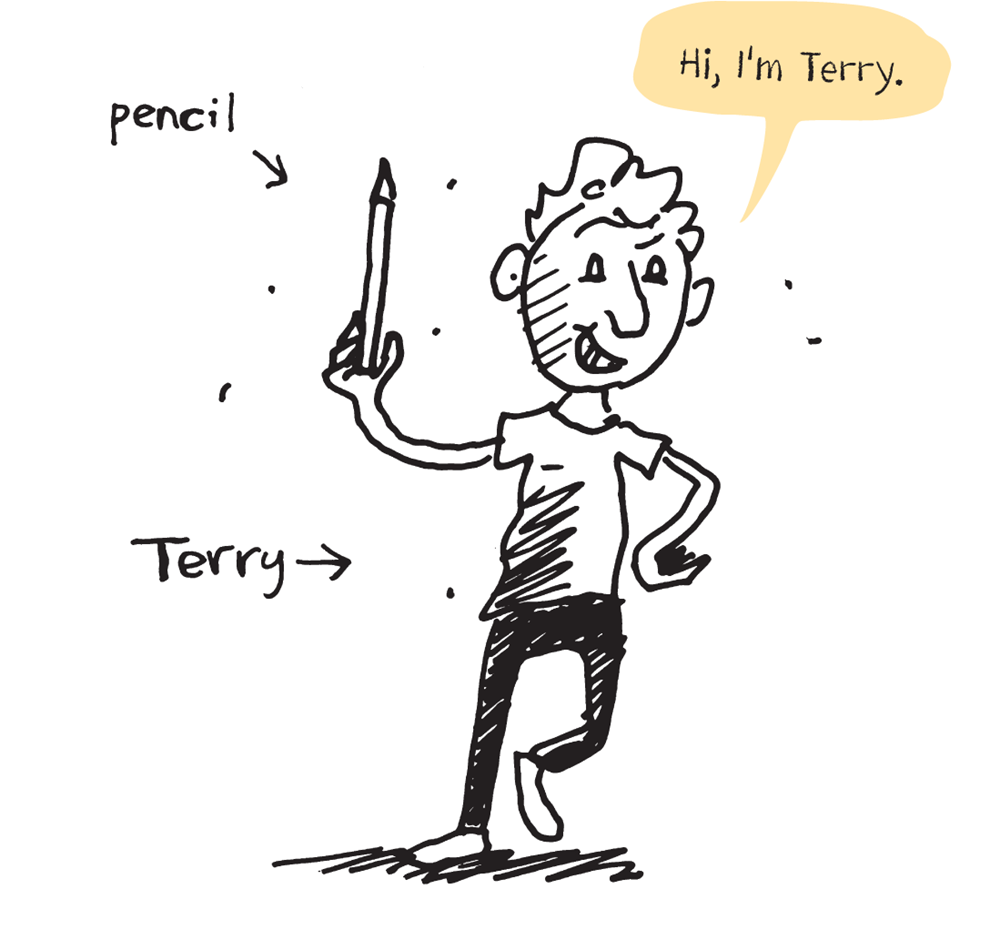 Hi, I'm Terry - illustration of Andy holding a pencil