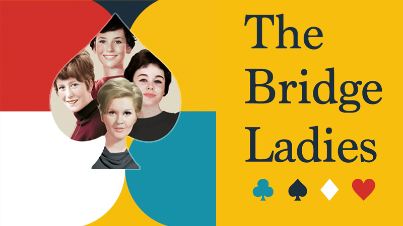 Four smiling women from the 50s in a colourful background with playing card suits