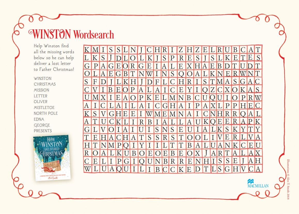 How Winston Delivered Christmas wordsearch