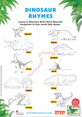 Drawings of dinosaurs with rhyming words underneath them