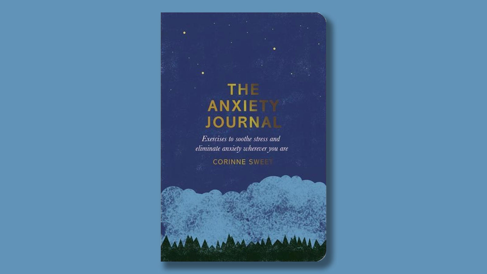 The Anxiety Journal by Corinne Sweet on a light blue background.