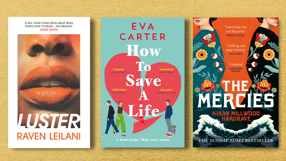 Book covers for Luster, How to Save a Life and The Mercies
