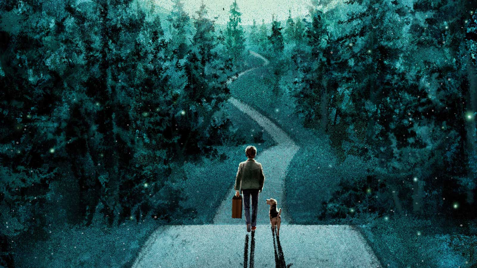 Illustration of a young boy and dog on a road under a starry sky