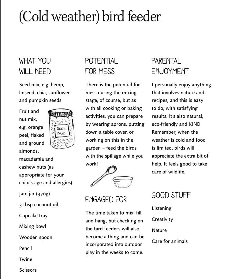 Activity Sheet - Cold Weather Bird Feeder - The Joy Journal - Laura Brand