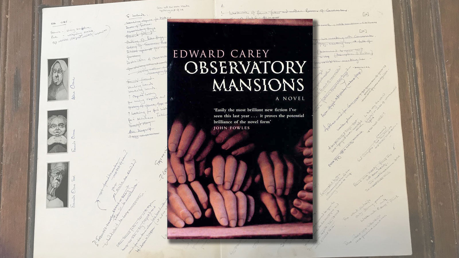 The book cover of Observatory Mansions against a background of Edward Carey's notes on the novel