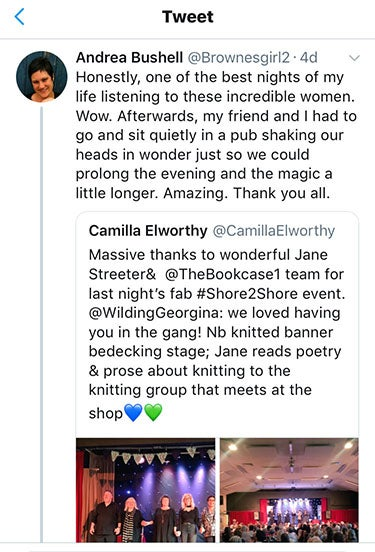 Tweet from Andrea Bushell saying 'Honestly, one of the best nights of my life listening to these incredible women. Wow.'